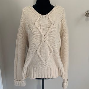 Creme Cable-Knit V-Neck Sweater